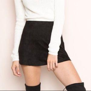 Brandy Melville Black Suede Mini Skirt Slit Sides